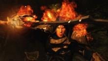 Skyrim In Game Character Conjuring Fire Enchantment