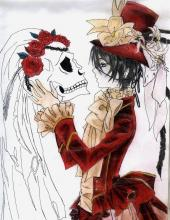 A drawing of Ciel holding the bride's skull