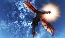 A dragon taking to the skies on a sunny day.