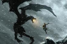 Concept art for Skyrim, depicting a battle between the Dragonborn and the villainous dragon Alduin