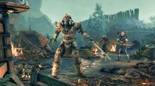 A Skyrim character fights against warriors on a Skyrim battlefield