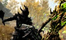 A powerful Dragonborn takes a swing at a Spriggan.
