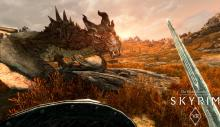 A character facing off against one of many dragons.