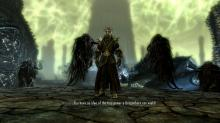 A frightening encounter with Miraak in the Dragonborn DLC.