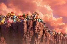 The basic roster of characters standing on a cliff looking at incoming danger