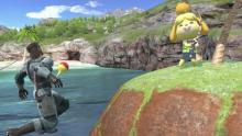 Isabelle uses her fishing rod on Snake