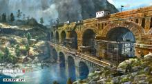 A concept art of the bridge carrying the railway gun.