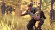 A player assuming a stealthier posture as he moves in for the kill in Sniper Elite 3.