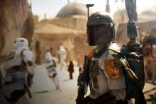 Boba Fett looks back as Imperial stormtroopers ran past him