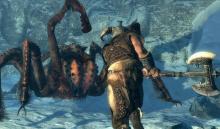 The Dragonborn taking on a poisonous, eight-legged foe.