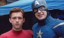 Tom Holland and Chris Evans take a break from shooting
