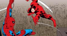 Spider-Man facing off against Daredevil