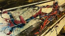Spider-Man and Deadpool fighting it out