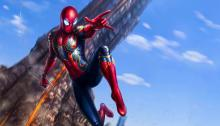 Spider-Man swinging into action in Fan Art from Infinity War