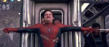 Toby McGuire stopping a Train in Spider-Man 2