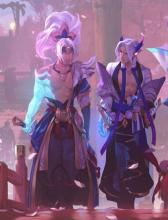 Yasuo and Yone stroll through the Spirit Blossom festival