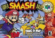 The cover of the original super smash bros game for N64.