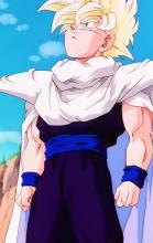 Fresh from the Hyperbolic Time Chamber, Gohan decides to further emphasize his hero-worship of Piccolo by adopting the latter's whole look, shoulder pads included. Combined with his new Super Saiyan power, it really shows how Gohan has become more determined over the years.