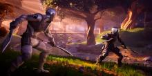 Two players face off in this lush wooded landscape in Fortnite.