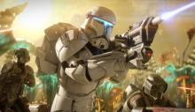 The Clone Commando attacks with two specialist backing him up