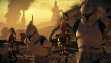 Battle Droids take Clone Troopers prisoner.