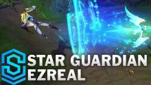Star Guardian Ezreal fires his ultimate, Trueshot Barrage.