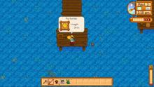 A player shows off their pufferfish catch.
