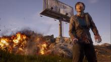 Zombie standing in front of billboard