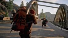 Fighting a massive zombie crossing a bridge