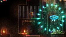 Dorothy dodges fireballs and works through a puzzle in Steamworld Dig 2