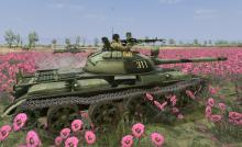 These tanks will plow through anything in it's path. Including this beautiful field of flowers.