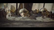 Ominously, tons of Stormtrooper helmets sit on the end of wooden spears in one scene.