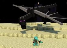 An epic encounter between steve and the Ender dragon