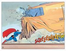 In this panel, Superman performs the classic heroic action of stopping a runaway train.