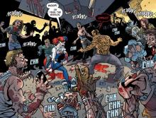 Here readers can see a few members of the Suicide Squad surrounded by what seem to be zombies.