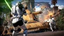 Clone troopers clash with battle droids.