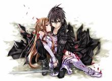 Kirito protecting Asuna. Don't mess with the Black Swordsman's Wife.