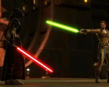 Sith Warrior vs Jedi Knight - A classic space opera moment.