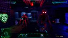 The player is fighting off monsters in this futuristic setting