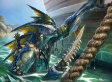 This merfolk is fond of surprise attacks and spells cast on your opponent's turn.