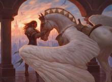Gideon shares a moment with his steed before they fly off to face Bolas.