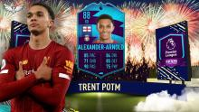 Trent celebrates with his player of the month card.