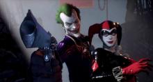 Harley is back in her old costume for this team-up in Arkham