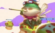 Teemo firing his blowpipe, the source of his poison and blinding effects