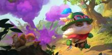 Teemo walking away as one of his Poisonous Mushrooms is exploding in the background