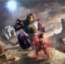 Goku battling Vegeta's Inner Saiyan Monkey Beast