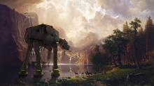Imperial AT-AT Walker marches on a beautiful countryside