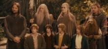 One of the most iconic frames from the films, here the fellowship unites for the first time.