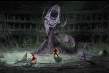 The Purple Beast bursts through the ground as it senses movement on the surface.