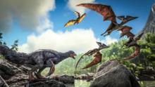 Therizinosaur Roaring and Pteranodons Flying